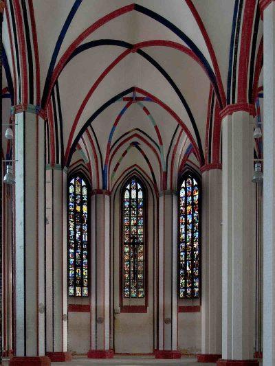 Marienkirche, innen, gläserne Bilderbibel, Frankfurt (Oder)