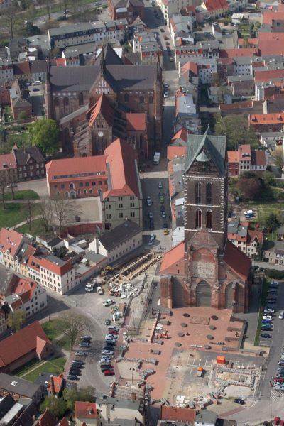 Turm der Marienkirche, Luftbild, Wismar